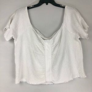BP Ruched Crop Top White 4X